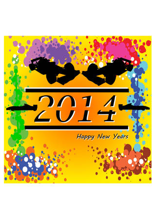 silhouette of the new year 2014 Vector