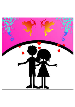 funny silhouette of love Vector