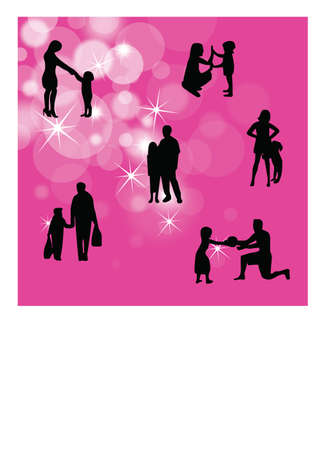 silhouette of a loving single parent Stock Vector - 23697886