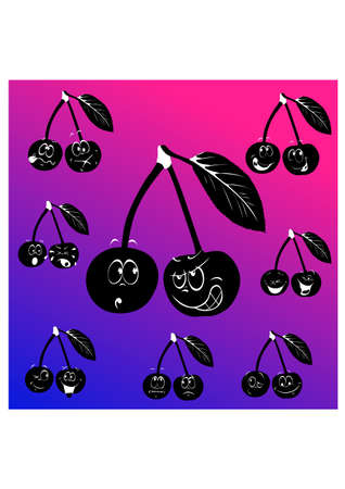 emotion cherry silhouette Stock Vector - 23895837