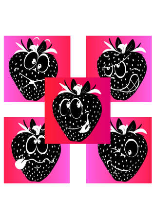 silhouette facial expressions strawberry Vector