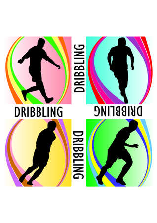 silhouette cool dribbling football  Vector
