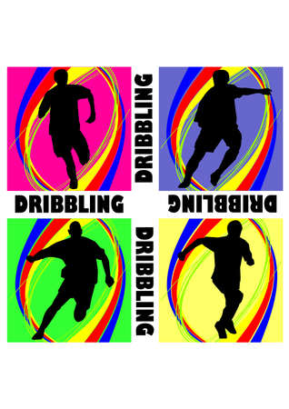 fantastic football dribbling silhouette Vector