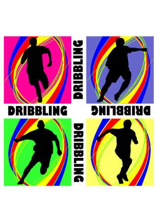 dribbling: fantastic football dribbling silhouette