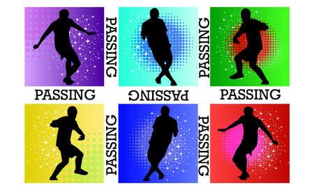 voetbal silhouet: passeren voetbal silhouet Stock Illustratie