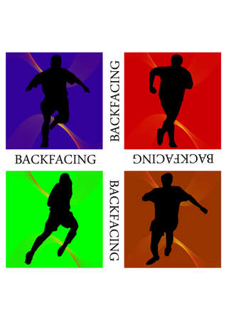 football backfacing freestyle silhouette Vector