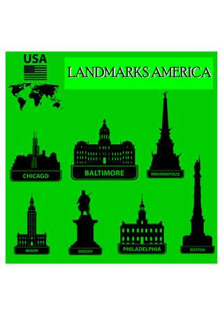 landmarks united states silhouette Stock Vector - 24107769