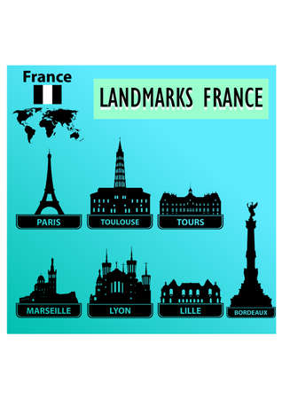 landmarks of france silhouette Stock Vector - 24107768