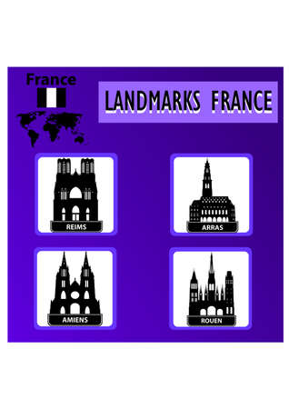 silhouette of beautiful landmarks france Vector