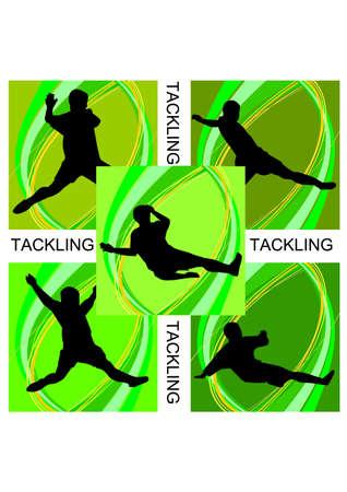 tackling: football tackling of silhouette