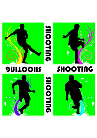 silhouette of great shooting football Vector