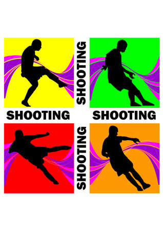 shooting briliant of football silhouette Vector