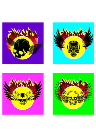 gansta: silhouette skull angel Illustration