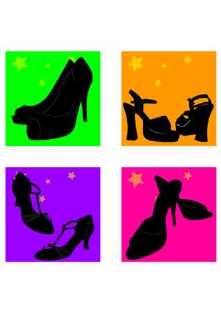 gansta: woman shoes silhouette  Illustration