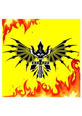 siloette: fire skull ornament silhouette Illustration