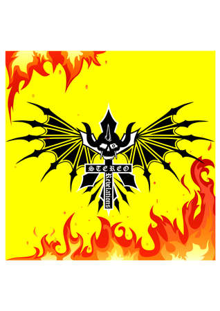 fire skull ornament silhouette Illustration