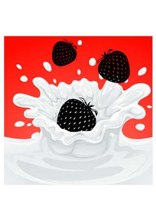 silhouette strawberry yogurt Illustration