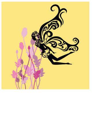 silhouette nice fairy Vector