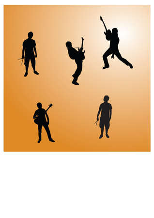 silhouette man of a music Stock Vector - 24384147