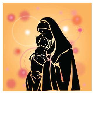 siloette: silhouette mother and son