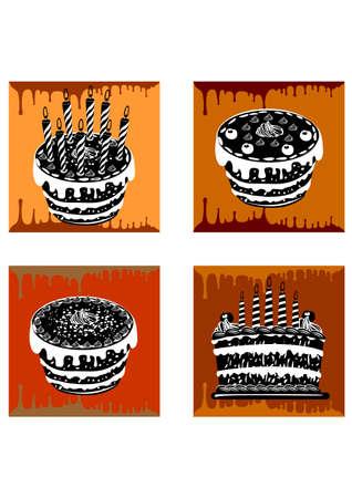 silhouette birthday cake Stock Vector - 24552332