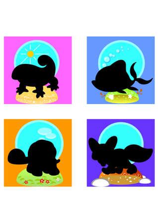funny animal: silhouette funny animal