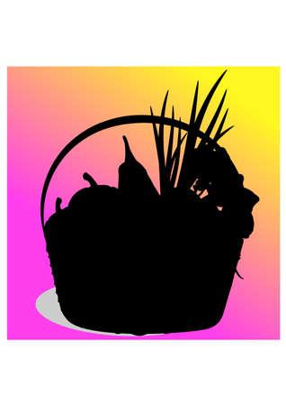 silhouette vegetables basket Illustration