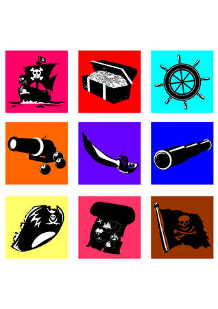 interesting music: silhouette  of the pirate Illustration