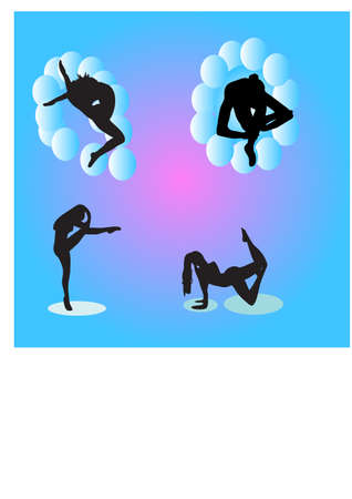 silhouette ballet movements Vector