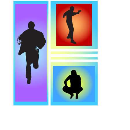 silhouette man in action Stock Vector - 24552341