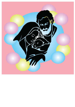 silhouette christian christmas Illustration