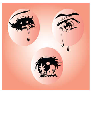 silhouette of the sorrow eyes Stock Vector - 24578407