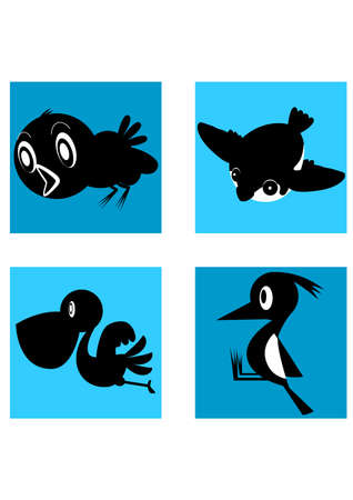 silhouette of cartoon funny bird Illustration