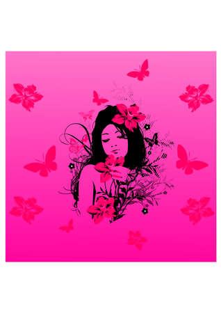 flowers of beautiful girl silhouette Illustration
