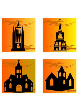 silhouette of church