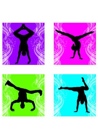 silhouette of flare breakdance Illustration