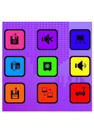 silhouette technology icon Illustration