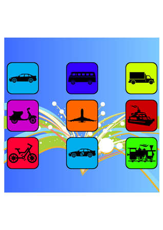 types of transport silhouete