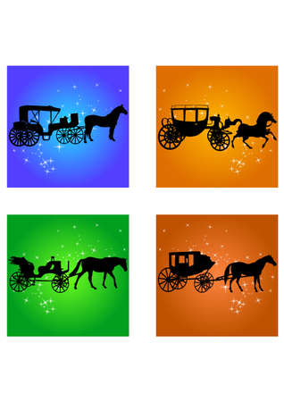 silhouette of a Horse Carriage Stock Vector - 24685611