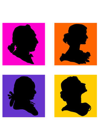 silhouette of a People Face 60s Illustration