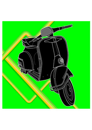 silhouette of the scooter