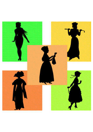silhouette of the Women 70s Stock Vector - 24685615