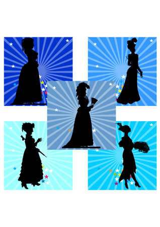 silhouette of the Women 80s Stock Vector - 24685616