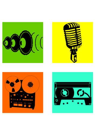 interesting music: silhouette of audio recording