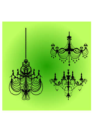 silhouette of chandelier antique