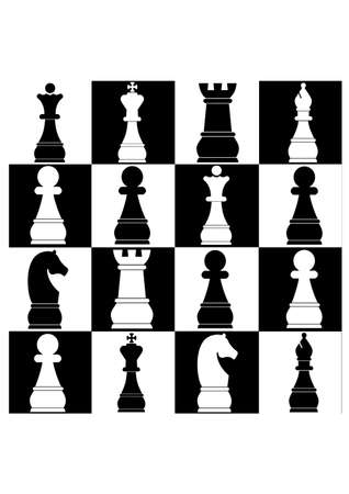 chess game of silhouette Stock Vector - 25173269