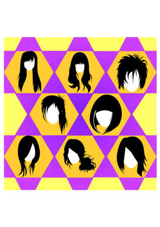 silhouette of hairstyles Illustration