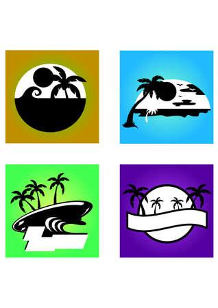 hawai beach silhouette Illustration