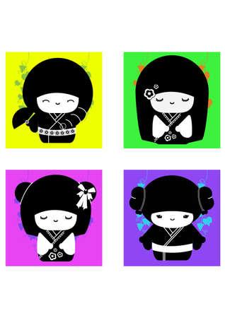 silhouette of japan dolls
