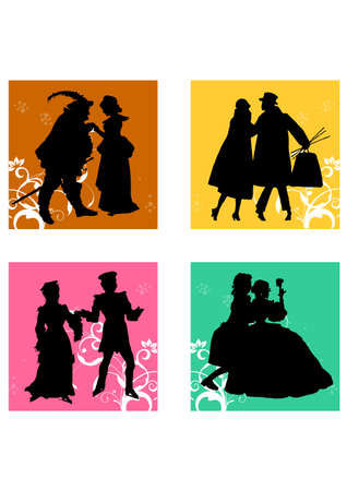 ancient people of love silhouette